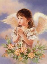 """Набор алмазной мозаики """"Ангелочек с розами"""""""