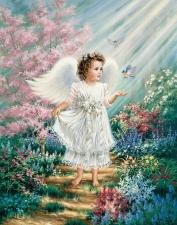 """Набор алмазной мозаики """"Ангелочек в цветах"""""""