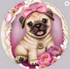 """Набор алмазной вышивки """"Собака. Мопс. Девочка"""""""