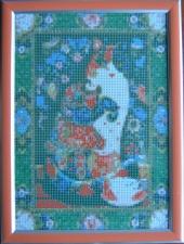 """Набор алмазной мозаики """"Кошка с чашечкой в рамке"""""""