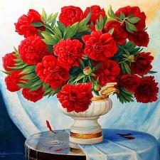 """Набор алмазной мозаики """"Красные пионы в вазе"""""""