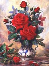 """Набор алмазной вышивки """"Красные розы в вазе"""""""