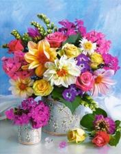 """Набор алмазной вышивки """"Разноцветные цветы в вазе"""""""
