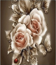"""Набор алмазной мозаики """"Роза с бабочками"""""""