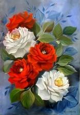 """Набор алмазной вышивки """"Белые и красные розы"""""""
