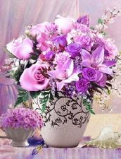 """Набор алмазной вышивки """"Сиреневые цветы в вазе"""""""