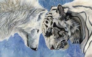 """Набор алмазной мозаики """"Волк и тигр"""""""
