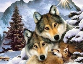 """Набор алмазной мозаики """"Волки. Семья"""""""