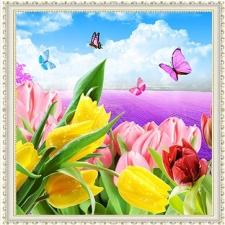 """Набор алмазной вышивки """"Тюльпаны и бабочки"""""""
