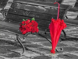 """Набор алмазной вышивки """"Букет красных роз на скамейке"""""""