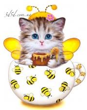 """Набор алмазной мозаики """"Кошечка - пчелка"""""""