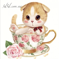 """Набор алмазной вышивки """"Кошечка в чашке с розой"""""""