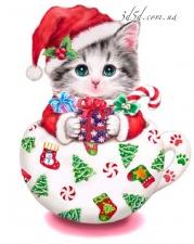 """Набор алмазной мозаики """"Котенок - Дед Мороз"""""""