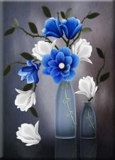 """Набор алмазной мозаики """"Синие цветы в вазе"""""""
