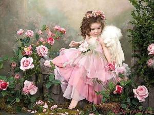 """Набор алмазной мозаики """"Девочка-ангелочек в розах"""""""
