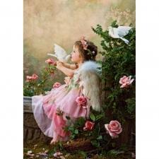 """Набор алмазной вышивки """"Девочка-ангел и голубь"""""""