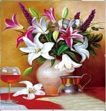 """Набор алмазной вышивки """"Разноцветные лилии в вазе"""""""
