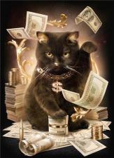 """Набор алмазной мозаики """"Кот с деньгами"""""""