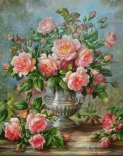 """Набор алмазной вышивки """"Розы в серебряной вазе Худ Уильямс Альберт"""""""