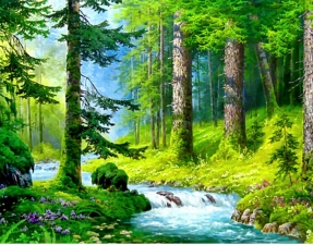 """Набор алмазной мозаики """"Речка в лесу"""""""