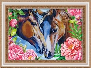 """Набор алмазной вышивки """"Лошадки. Любовь в пионах"""""""