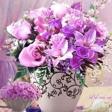 """Набор алмазной вышивки """"Сиреневые цветы в вазочке"""""""