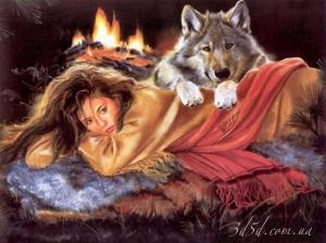 """Набор алмазной вышивки """"Девушка с волком"""""""