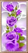 """Набор алмазной вышивка """"Фиолетовая роза частичная выкладка"""""""