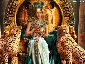 """Набор алмазной мозаики """"Клеопатра с леопардами"""""""