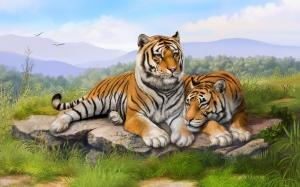 """Набор алмазной мозаики """"Тигры на поляне"""""""