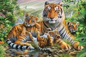 """Набор алмазной мозаики """"Семья тигров"""""""
