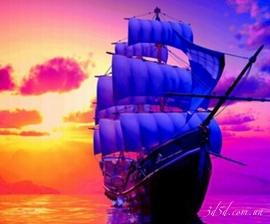 """Набор алмазной вышивки """"Корабль на закате"""""""