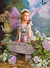 """Набор алмазной мозаики """"Ангел в гортензиях"""""""