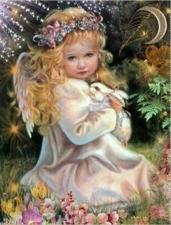 """Набор алмазной вышивки """"Ангелочек с зайчиком"""""""