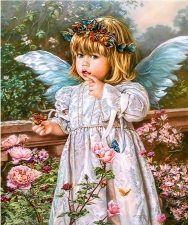 """Набор алмазной вышивки """"""""Ангелочек в розах с бабочкой"""""""