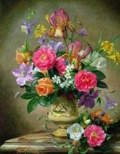 """Набор алмазной мозаики """"Букет с розами, Альберт Уильямс"""""""
