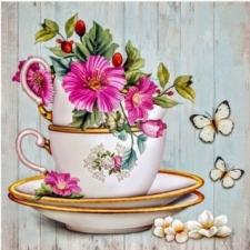 """Набор алмазной мозаики """"Чашка с цветами и бабочки"""""""