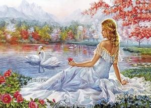 """Набор алмазной мозаики """"Девушка и лебеди"""""""
