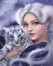 """Набор алмазной вышивки """"Девушка с белым тигренком"""""""