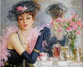 """Набор алмазной вышивки  """"Девушка за чашкой чая"""""""
