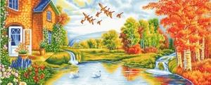 """Набор алмазной мозаики """"Домик на озере.Осень"""""""