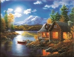"""Набор алмазной мозаики """"Домик у озера. Вечер"""""""
