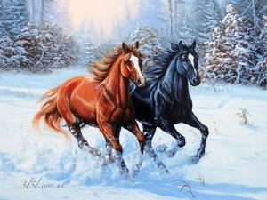 """Набор алмазной вышивки """"Две лошади в снегу"""""""