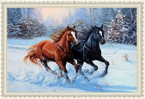 """Набор алмазной вышивки """"Две лошадки. Зима"""""""