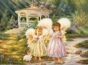 """Набор алмазной мозаики """"Две сестренки ангелочки"""""""