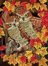 """Набор алмазной мозаики """"Две совы в листьях"""""""
