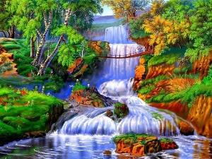 """Набор алмазной вышивки """"Горная речка с мостиком. Водопад"""""""