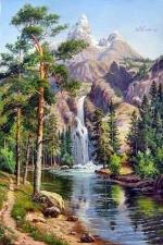 """Набор алмазной вышивки """"Горная река в сосновом лесу"""""""