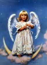 """Набор алмазной вышивки """"Ангелочек на полумесяце"""""""