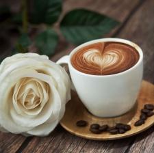 """Набор алмазной вышивки  """"Кофе и белая роза"""""""